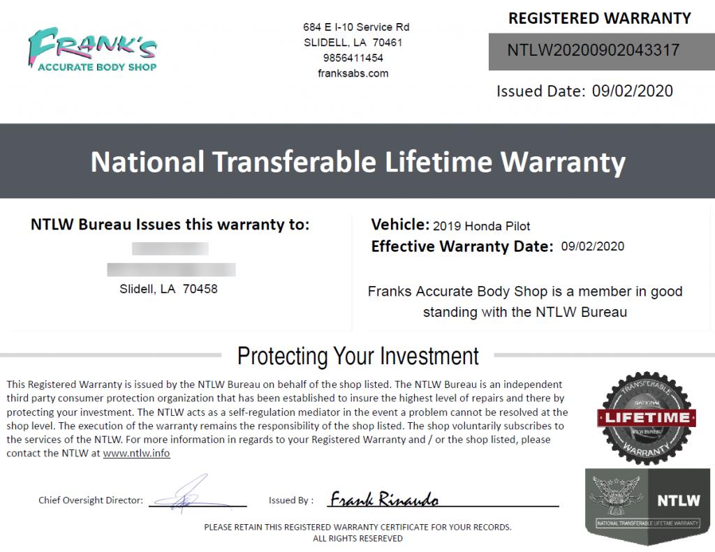 Auto body repair warranty